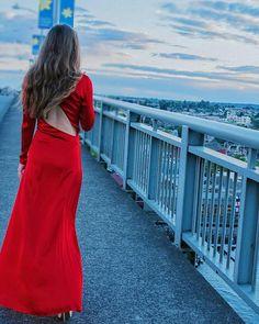 """She acts like summer and walks like rain.""  #reddress #red #maxidress #sunset #bridge #view #dreamer #elegant"