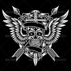 Winged Skull with Sword and Arrows — JPG Image #halloween #sword • Available here → https://graphicriver.net/item/winged-skull-with-sword-and-arrows/5737891?ref=pxcr