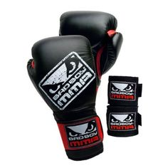 Bad Boy MMA Sparing Kit (Black, Small/Large) by Revgear. $39.99. Bad Boy  MMA Sparing kit. The kit includes Sparing glove and hand wraps. The glove feature moisture repellent satin liner to reduce odor and foam breakdown. Adjustable hook and loop wrist strap with elastic expansion cuff. Multi-layer foam padding. The hand wraps (pair) feature convenient thumb loop with Velcro closure for easy and secure wrapping. Both gloves and hand wraps come in black color. Choose from 2...