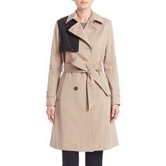 Sonia by Sonia Rykiel Water Repellent Colorblock Trench Coat (30,360 INR) ❤ liked on Polyvore featuring outerwear, coats, apparel & accessories, double-breasted trench coat, lined trench coat, colorblock trench coat, pink coat and double breasted belted coat