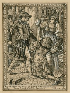 """Walter Crane. Valentine: """"Ruffian, let go that rude uncivil touch, thou friend of an ill fashion!"""", Act V, Scene 4. Drawing, 19th century or early 20th century. Folger Shakespeare Library."""