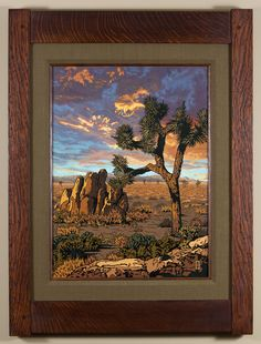 Resolute Joshua Tree - 4th in a 4 part California Regions series, focusing on the desert. - Arts & Crafts - Craftsman - Bungalow - Keith Rust Illustration Framed Giclée Prints