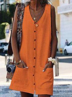 V-Neck Pocket Button Sleeveless Cardigan Dress – jullymart Summer Holiday Dresses, Boho Summer Dresses, Summer Dresses For Women, Boho Dress, Dresses For Work, Maxi Dresses, Linen Dresses, Blue Dresses, Fashion Dresses