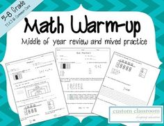 Math Warm-up: Middle of Year Review:The following practice pages spiral problems from the following topics:Integer OperationsFraction, Decimal, and PercentsMultiply and Divide Rational NumbersOrder Rational NumbersClassify NumbersLocate, Compare, and Order Rational NumbersModel Fractions and DecimalsEquivalent Fractions, Decimals, and PercentsIncludes: *10 Daily Warm-ups*12 questions per page*Answer KeyOther Resources You Maybe Interested In:*STAAR 6th Grade Math Review*Math…