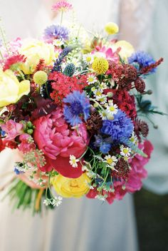 Bright late June bouquet by BareBlooms // Photo By CKB Photography