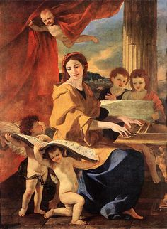 Page of St Cecilia by POUSSIN, Nicolas in the Web Gallery of Art, a searchable image collection and database of European painting, sculpture and architecture Oil On Canvas, Canvas Prints, Art Prints, Ste Cecile, Poussin Nicolas, Baroque Art, Old Master, French Art, Mythology