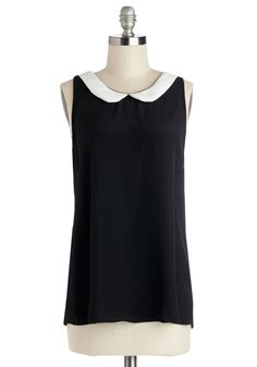 Classy Collector Top in Black | Mod Retro Vintage Short Sleeve Shirts | ModCloth.com