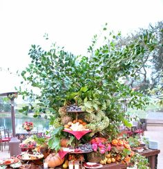Amazing table and centerpiece at wedding reception, Rancho La Zaca. Floral design by Mindy Rice.