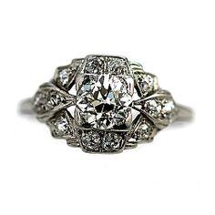 Antique Old European Cut Diamond Platinum Engagement Ring Circa Early 1900's