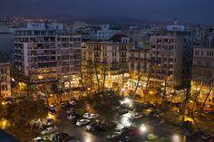 View of Thessaloniki town, Macedonia, Greece Thessaloniki, Christmas Tree, Night, Holiday Decor, Macedonia Greece, Landscapes, Greek, Home Decor, Teal Christmas Tree