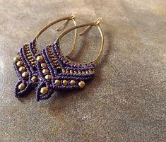 Purple and Bronze Macrame Earrings Boho Earrings by neferknots, $28.00