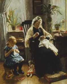 Sewing With Grandmother ~ Wenzel Ulrik Tornöe ~ (Danish 1844-1907)