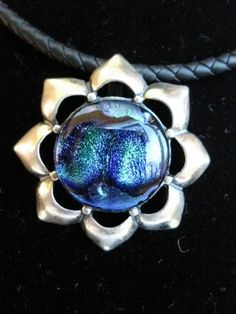 Dichroic sterling silver flower pendant with braided rubber cord