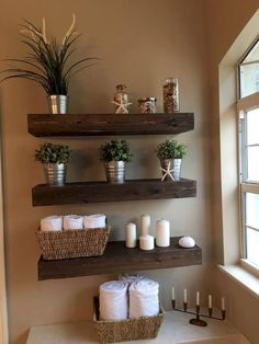 15 Glorious DIY Shelves That Will Beautify Your Home - - Diy Badezimmer - Bathroom Decor Relaxing Bathroom, Decor, Diy Shelves, Small Bathroom Decor, Rustic House, Shelves, Diy Bathroom Remodel, Relaxing Bathroom Decor, Home Decor