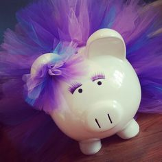 Large Piggy Bank Purple | Large Purple, Lavender, and Blue Tutu Piggy Bank With Eyelashes