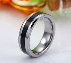 Black Center Stripe Tungsten Carbide Wedding Ring Mens by TCRings, $65.00