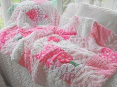 Adorable Pink Roses Vintage Chenille Patchwork by thepinkpalace, $175.00