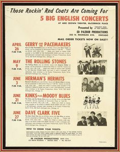 "Rolling Stones and Others Vintage Concert Flyer. A 8.5"" x 11"" vintage flyer from 1964 for a series concerts at the Arie Crown Theater in Chicago"