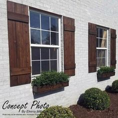 ~Listing is for ONE PAIR = 2 SHUTTERS ! ** Farmhouse Board and batten style Shutters ** ~ A perfect way to add curb appeal to your home! SHUTTER DETAILS:: ~ Custom made to order. ~ Made from rough sawn Red Cedar. ~Pictured shutters are wide and done i Cedar Shutters, Farmhouse Shutters, Exterior Shutters, Diy Shutters, Rustic Shutters, Outdoor Shutters, Farmhouse Windows, Cottage Shutters, Houses With Shutters