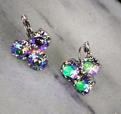 Swarovski crystal 8mm paradise shine three stone earrings  by CrystallizedByLena