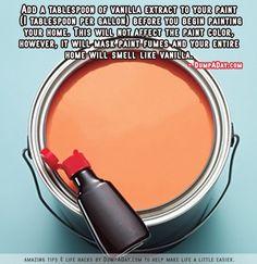 agregar ala pintura 1 cuch de extracto de vainilla y desapareceran los olores de pintura y la casa olerá increible