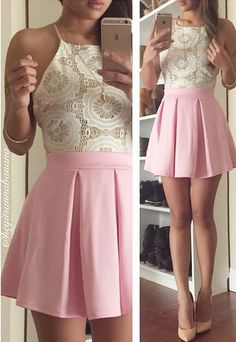 Pleated skirt in baby pink