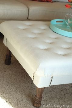 The tufted ottoman is complete!     I've been wanting one of these  for a long time ...   So I figured I would try to make ...