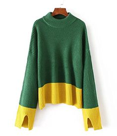 e6b04ab35a35ae HEYFAIR Womens Splice Slit Knitted Pullover Sweater Jumper 3   Want to know  more