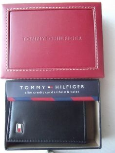 """Tommy Hilfiger Slim Credit Card Trifold Wallet & Valet by Tommy Hilfiger. $24.99. A trifold design gives this leather Tommy Hilfiger wallet a sleeker, more streamlined look. Includes elegant brick red valet. Features esteemed Tommy Hilfiger signature black-white-red metal logo on front.  Boasts multiple sections for ultimate organization: 1 bill sections, 10 card slots Soft leather w/ black manmade lining, Dimensions: Folded, measures 3"""" x 3-3/4"""" x 7/8"""". Unfolded, measure..."""