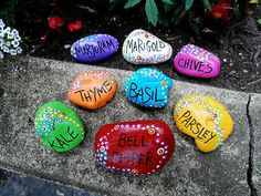 things to make with rocks Pretty painted rock garden markers for your herb, flower, or veggie garden.Pretty painted rock garden markers for your herb, flower, or veggie garden. Unique Garden, Diy Garden, Colorful Garden, Garden Ideas, Herb Garden, Recycled Garden, Backyard Ideas, Rock Garden Art, Garden Web