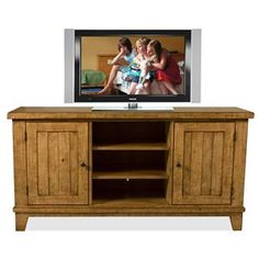 Riverside Furniture Summer Hill TV Console - 91641  Discover the Summer Hill collection and be swept away. Crafted from Pine solids and veneers, pieces are finished in a beautiful Canby Rustic Pine with heavy distressing for a light and summery feel. Including bedroom, dining, occasional, and entertainment pieces, Summer Hill adds a natural, rustic feel to your home.