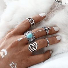 Vintage 5 PCS/SET Eagle Ring Sets Fashion Tibetan Silver Color Turquoise Midi Ring