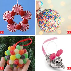 These (literally) sweet little ornaments are a snap to make, using wintery peppermints, Christmassy gumdrops, and my favorite… sprinkles! 1. Peppermints and Red Hots wreath by Martha Stewart with instructions available at Fancy House Road 2. Sprinkles ornament via Little Gray Fox 3. Gum drop ...