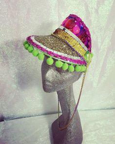 Disco bling sequin glitter and pom pom visor. Festival