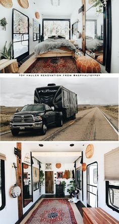 Be prepared to fall in love with this renovated Toyhauler Camper Diy, Airstream Decor, Travel Trailer Remodel, Rv Interior, Van Living, Camper Makeover, Camper Renovation, Remodeled Campers, Tiny Spaces