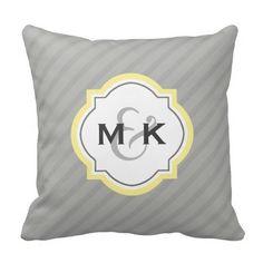 Couples Wedding Gift -Yellow Monogram Quatrefoil- Throw Pillow