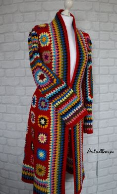 Items similar to Crochet coat Jacket Granny square coat Female cardigan Scarf Handmade coat Fashion design Autumn coat Boho coat Red coat Winter crochet coat on Etsy Boho Crochet, Gilet Crochet, Crochet Granny, Crochet Fashion, Crochet Shawl, Knit Crochet, Granny Square Sweater, Crochet Jacket Pattern, Crochet Capas
