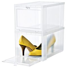 also great for handbag storage!! The clear window of our Drop-Front Shoe Box lets you immediately see the pair stored inside. The drop-front opening means you don't have to unstack boxes to get the pair you want. It's an easy way to keep your shoes protected from dust while keeping them easy to access.