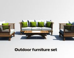 outdoor furniture set 3d model chair sofa table furniture outdoor yard courtyard garden house enviroment exterior detailed photoreal wooden couch l - Garden Furniture 3d Model
