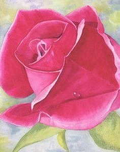 Rose Painting Flower Art Pink Flower Pink Rose by SchaferArtStudio