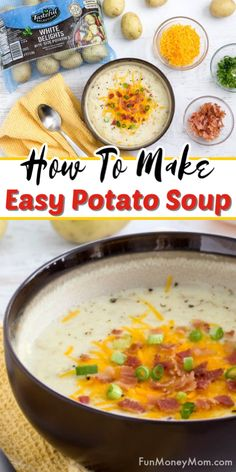 Potato Soup - This easy potato soup recipe not only makes a quick and easy dinner recipe but it tastes so delish that you'll want loaded potato soup for dinner every night! Easy Soup Recipes, Easy Dinner Recipes, Cooking Recipes, Potato Soup Recipes, Chili Recipes, Easy Dinners For Two, Easy Healthy Dinners, Easy Meals For Kids, Dinner Healthy