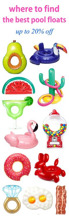 Y'all I need this avocado and margarita pool float! | Fashion, beauty and lifestyle blogger Mash Elle rounds up the best adult pool floats on the Internet! This pool float guide explains where to get the best affordable pool floats for pool parties, beach getaways, vacations etc! Click here to see pool floats of all kinds including: a donut, pelican, pineapple, sea shell, diamond ring, ballon animal, rainbow, american flag, lobster, smarties, tootsie roll, pizza slice, popcorn, cactus and…