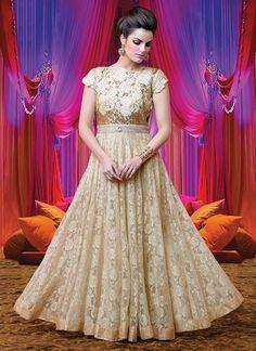 Cbazaar Beige Net Floor length Anarkali Suit