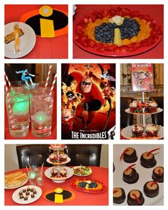 Disney Dinner and a Movie ~ The Incredibles Party. We had hero sandwiches, The Incredibles logo fruit platter, Frozone's ice cold drinks, protein salad and Mr. Incredible's protein bars or Mrs. Incredible's stretching twisty cheese sticks for a snack during the movie. For dessert we had Bomb Voyage's bombs (buckeyes with Twizzlers) or a character cupcake.