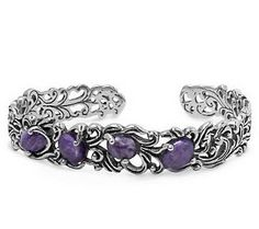 Carolyn Pollack Sterling Gemstone Vine Cuff