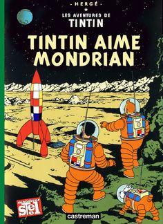 Couverture fusée Tintin avec Mondrian