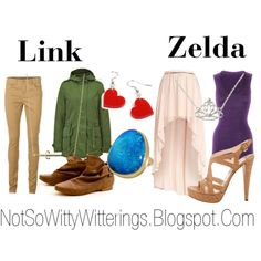 Link and Zelda inspired outfits. Nerdy, but cute!