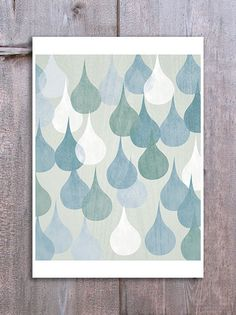Half Bath Inspiration: Abstract Rain Drops Wall Art Digital Print Home Decor Poster Neutral Decor Kitchen Bathroom Art Blue White. via Etsy. Wall Colors, Colours, Paint Colors, Bathroom Art, Bathroom Ideas, Bathroom Paintings, Master Bathroom, Bathrooms, Contemporary Artwork