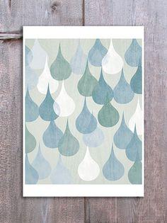 Abstract Rain Drops Wall Art Digital Print Home Decor Poster Neutral Decor Kitchen Bathroom Art Blue White. £12.00, via Etsy.