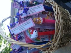 """PEZ birthday party favors for my daughters little guests!  I added a quick """"thank you"""" and arranged them in a basket!  Quick, easy & cute!  Everyone loves PEZ!"""